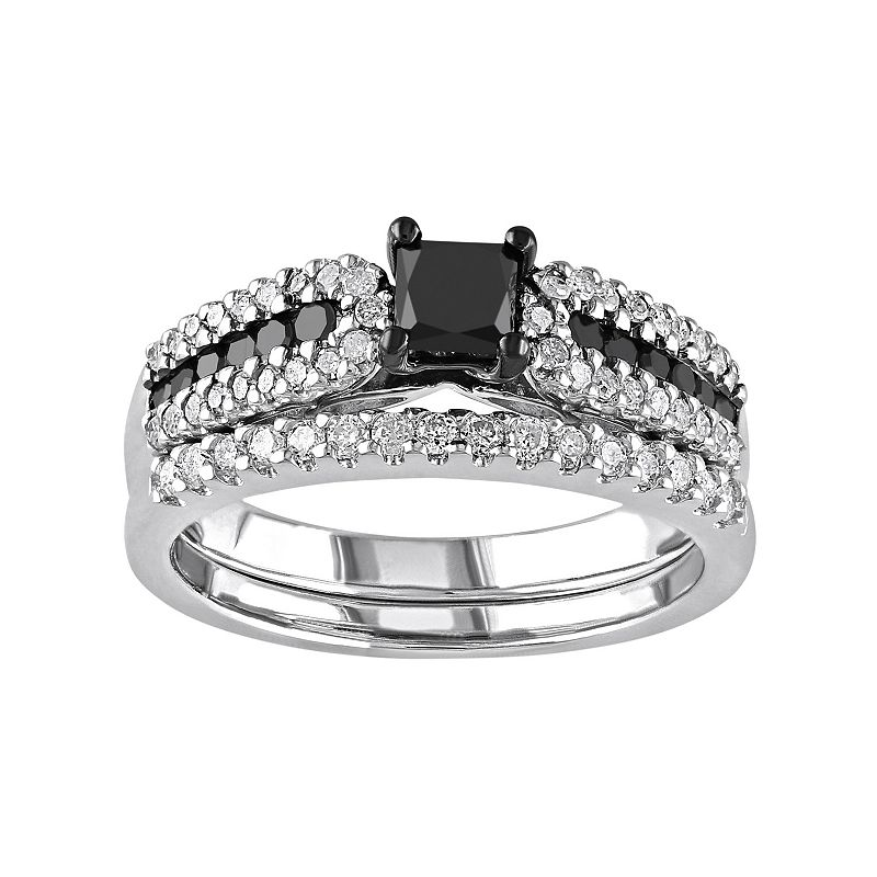 Sterling Silver 1 Carat T.W. Black & White Diamond Multirow Engagement Ring Set