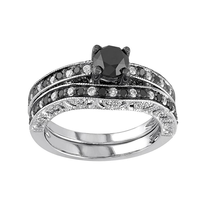 Sterling Silver 1 1/4 Carat T.W. Black & White Diamond Engagement Ring Set