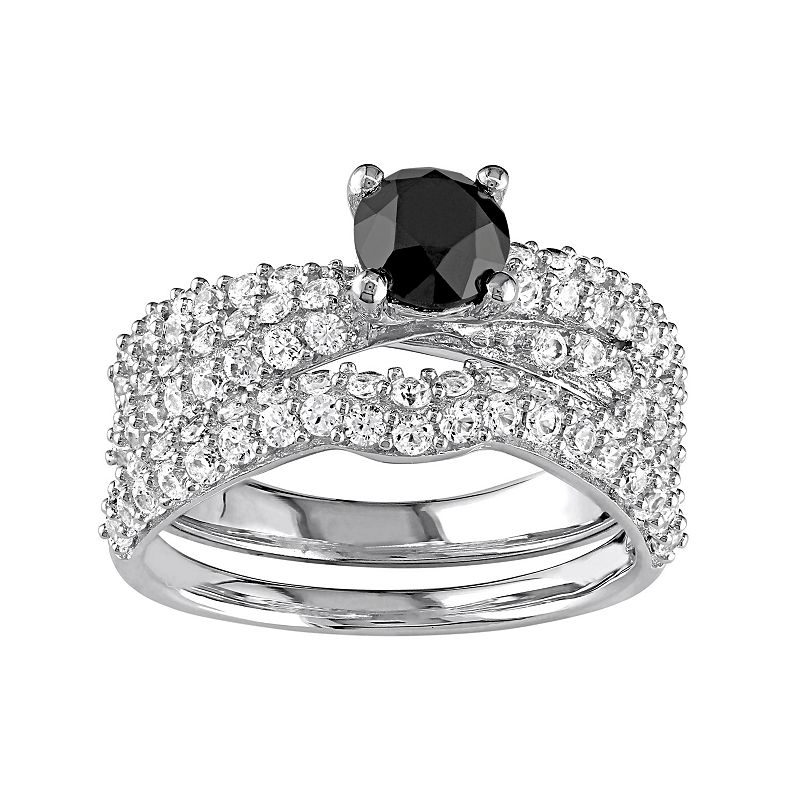 Sterling Silver 1 Carat T.W. Black Diamond & Lab-Created White Sapphire Multirow Engagement Ring Set