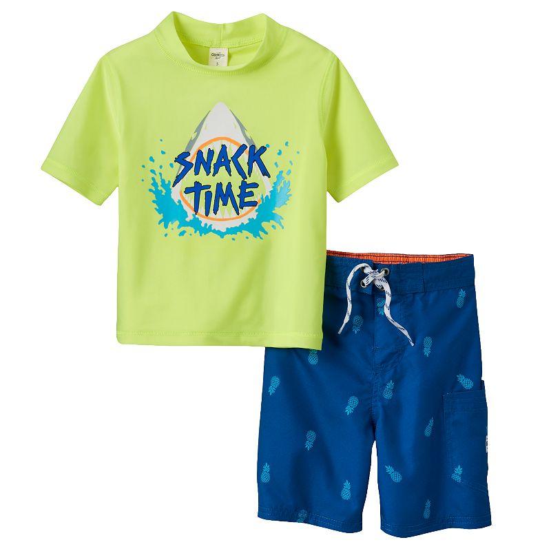 Boys 4-7 OshKosh B'gosh® Shark Rashguard & Pineapple Swim Trunks Set