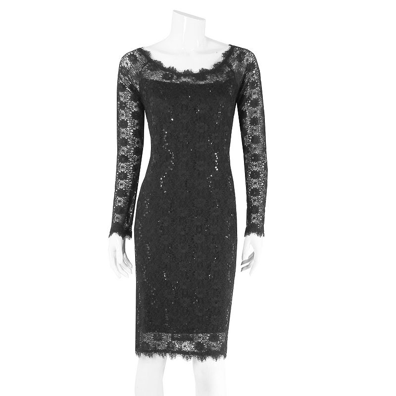 Onyx Nite Lace Sequined Sheath Dress - Women's