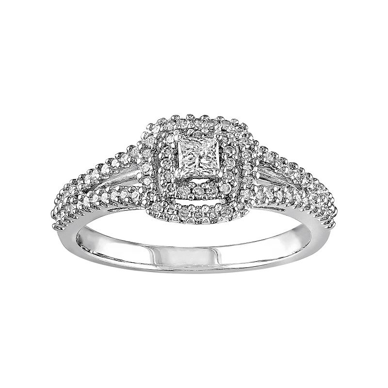 Sterling Silver 3/8 Carat T.W. Diamond Square Halo Engagement Ring