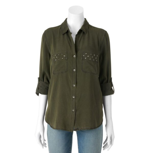 Women's Rock & Republic® Studded Roll-Cuff Shirt