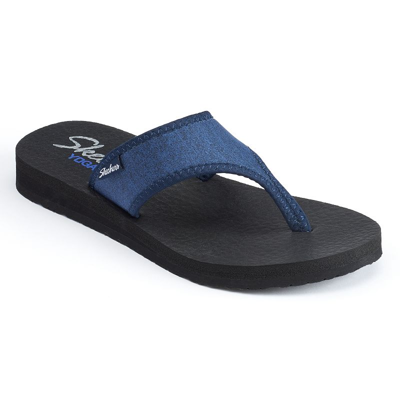 Skechers Meditation Women's Jersey Yoga Mat Wedge Flip-Flops