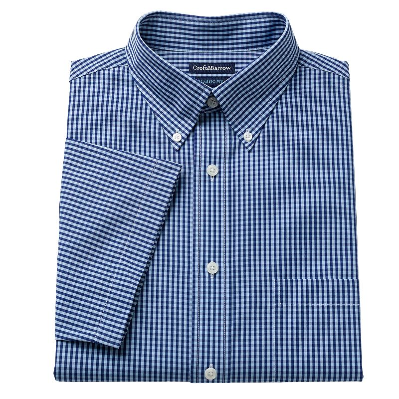 Men's Croft & Barrow® Classic-Fit Pinpoint Oxford Checked Button-Down Collar Short-Sleeve Dress Shirt