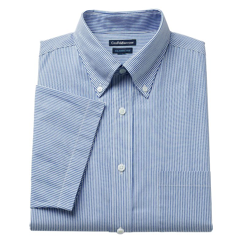 Men's Croft & Barrow® Fitted Pinpoint Oxford Striped Button-Down Collar Dress Shirt