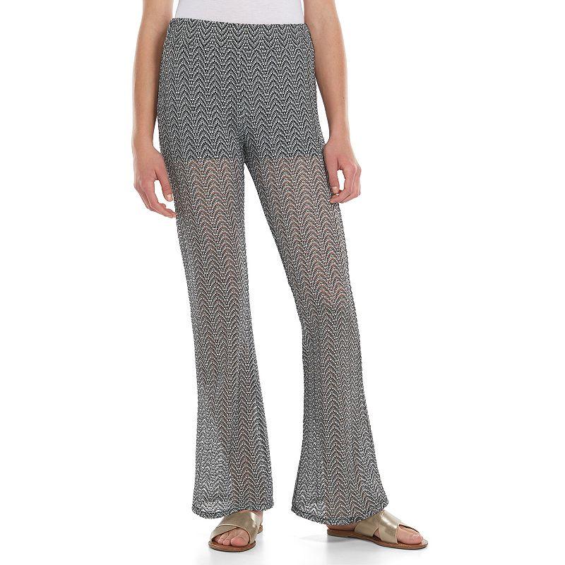 Juniors' Joe B Zigzag Crochet Flare Pants