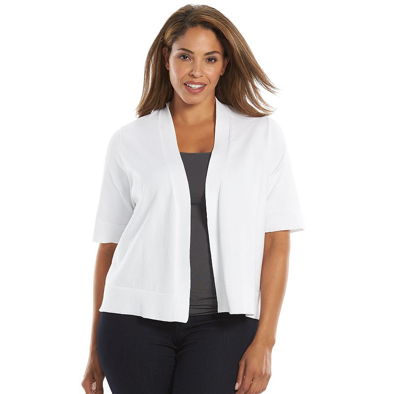 Plus Size Croft & Barrow® Open-Front Shrug