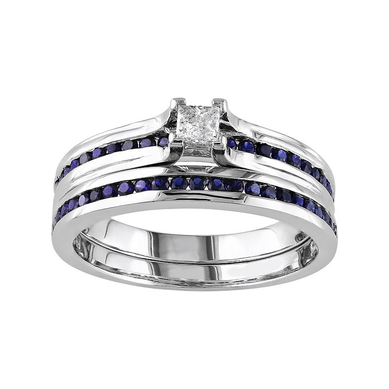 Sterling Silver Lab-Created Sapphire & 1/6 Carat T.W. Diamond Engagement Ring Set