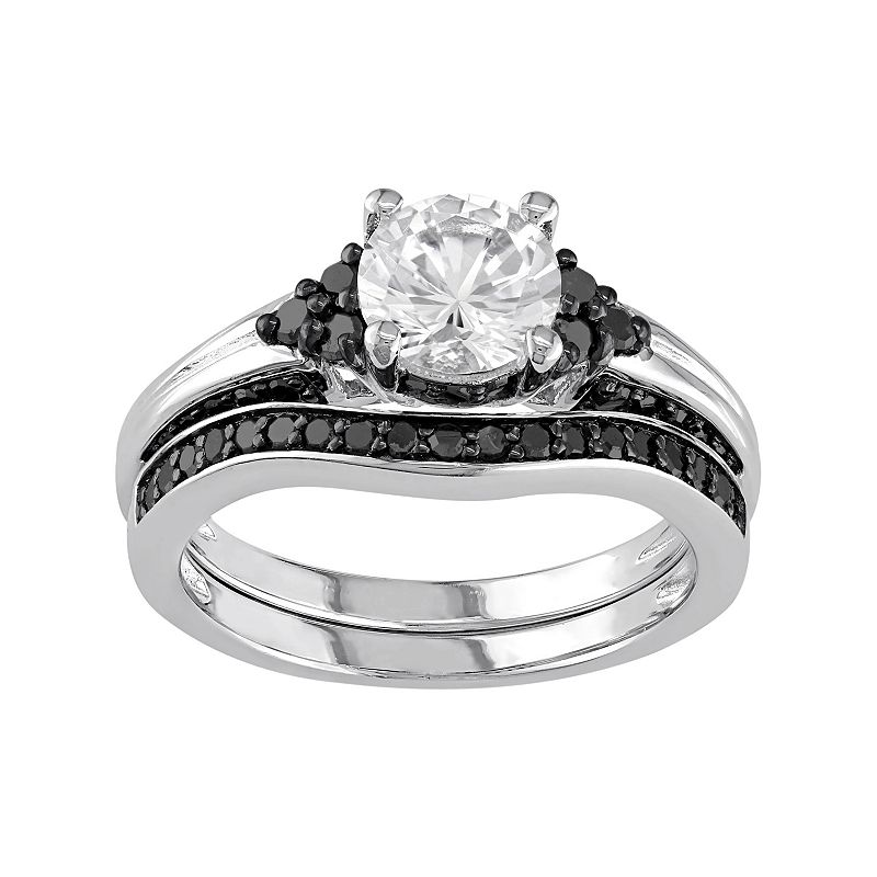 Sterling Silver Lab-Created White Sapphire & 5/8 Carat T.W. Black Diamond Engagement Ring Set