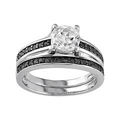 Sterling Silver Lab-Created White Sapphire & 1/3 Carat T.W. Black Diamond Engagement Ring Set by