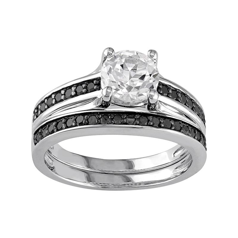 Sterling Silver Lab-Created White Sapphire & 1/3 Carat T.W. Black Diamond Engagement Ring Set