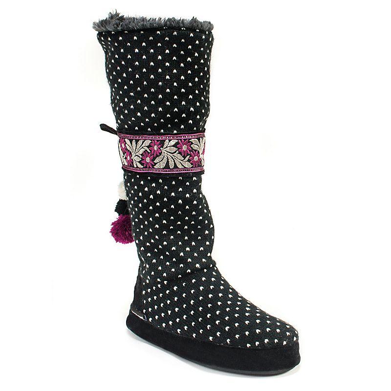 MUK LUKS Women's Jasmine Bird's Eye Knit Boot Slippers