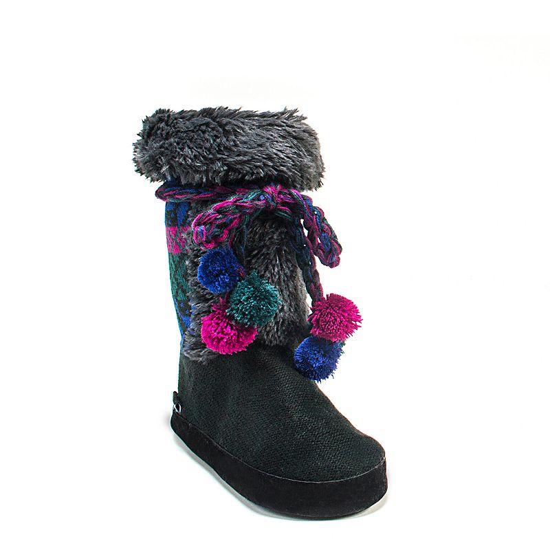 MUK LUKS Women's Jewel Knit Pom-Pom Boot Slippers