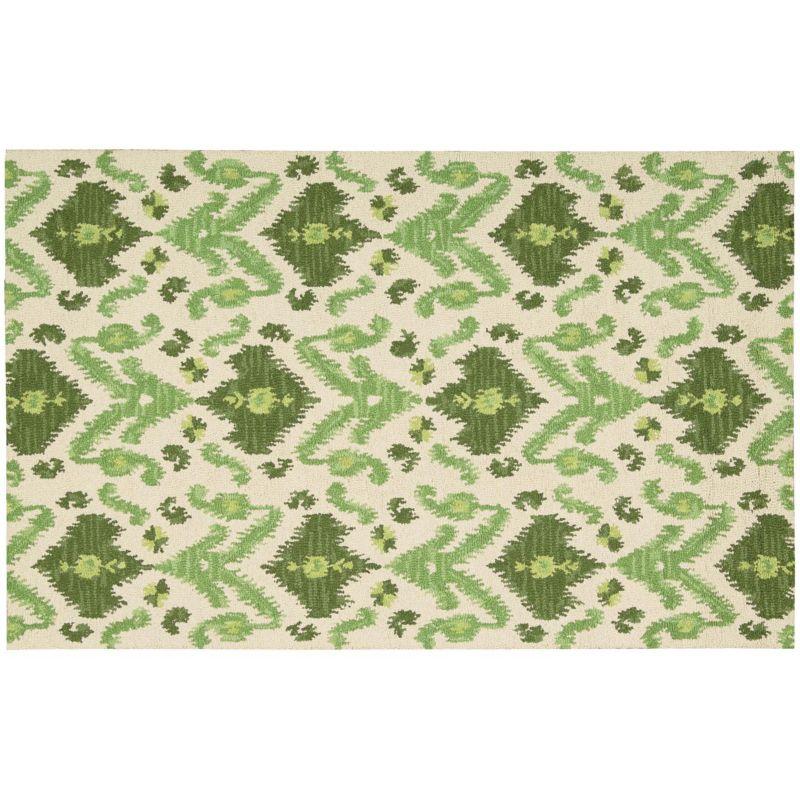 Nourison Siam Traditional Ikat Wool Rug, Green thumbnail