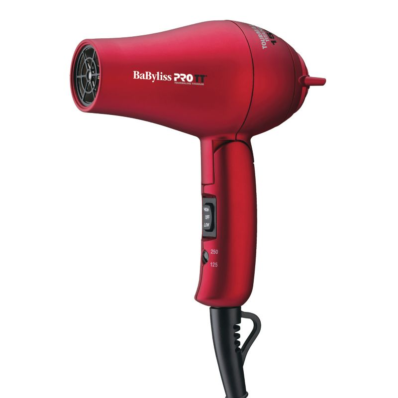 BaByliss Pro TT Tourmaline Titanium Travel Hair Dryer, Red