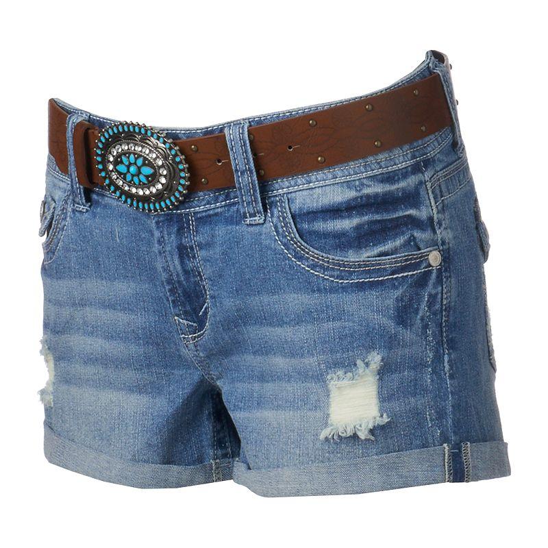Juniors' Wallflower Curvy Roll-Cuff Shorts