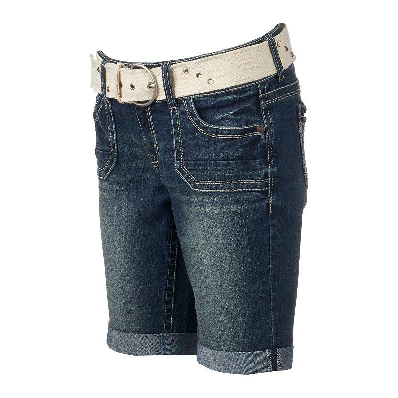 Juniors' Wallflower Curvy Bermuda Shorts