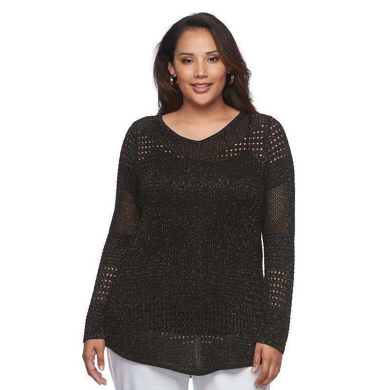 Plus Size Jennifer Lopez Chevron Sweater
