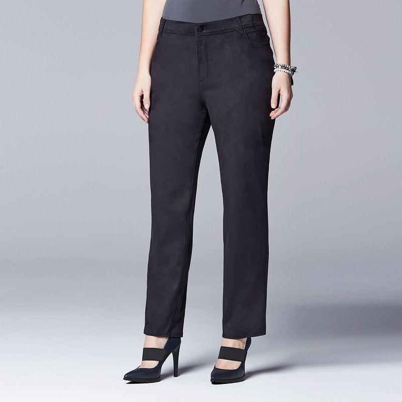 Plus Size Simply Vera Vera Wang Faux-Suede Straight-Leg Pants
