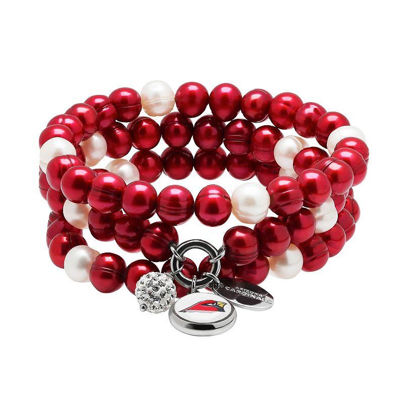 Arizona Cardinals Dyed Freshwater Cultured Pearl Team Logo Charm Stretch Bracelet Set
