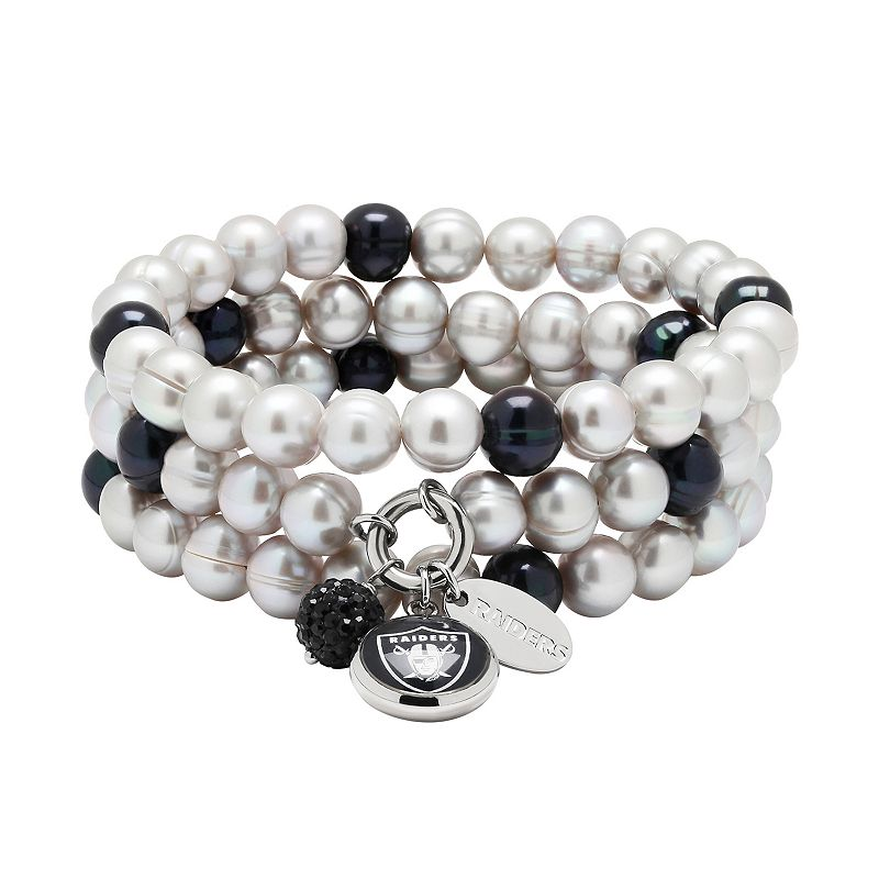 Oakland Raiders Dyed Freshwater Cultured Pearl Team Logo Charm Stretch Bracelet Set