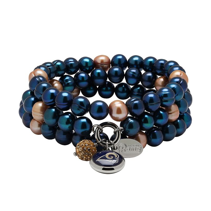 St. Louis Rams Dyed Freshwater Cultured Pearl Team Logo Charm Stretch Bracelet Set