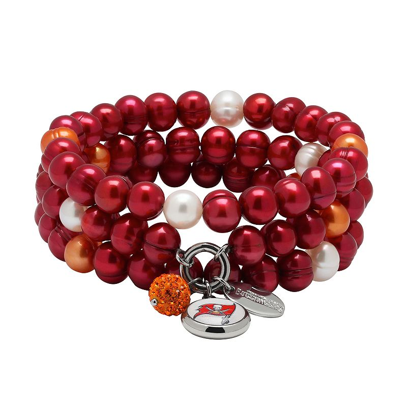 Tampa Bay Buccaneers Dyed Freshwater Cultured Pearl Team Logo Charm Stretch Bracelet Set