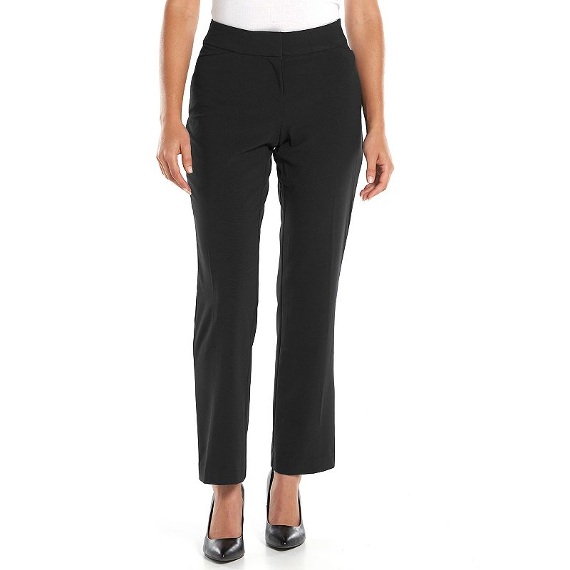 Petite Sag Harbor Slimming Solution Straight-Leg Dress Pants