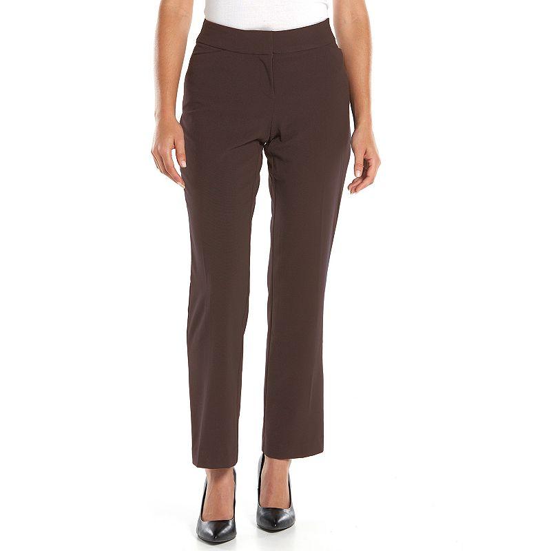 Petite Sag Harbor Slimming Solution Straight-Leg Dress Pants