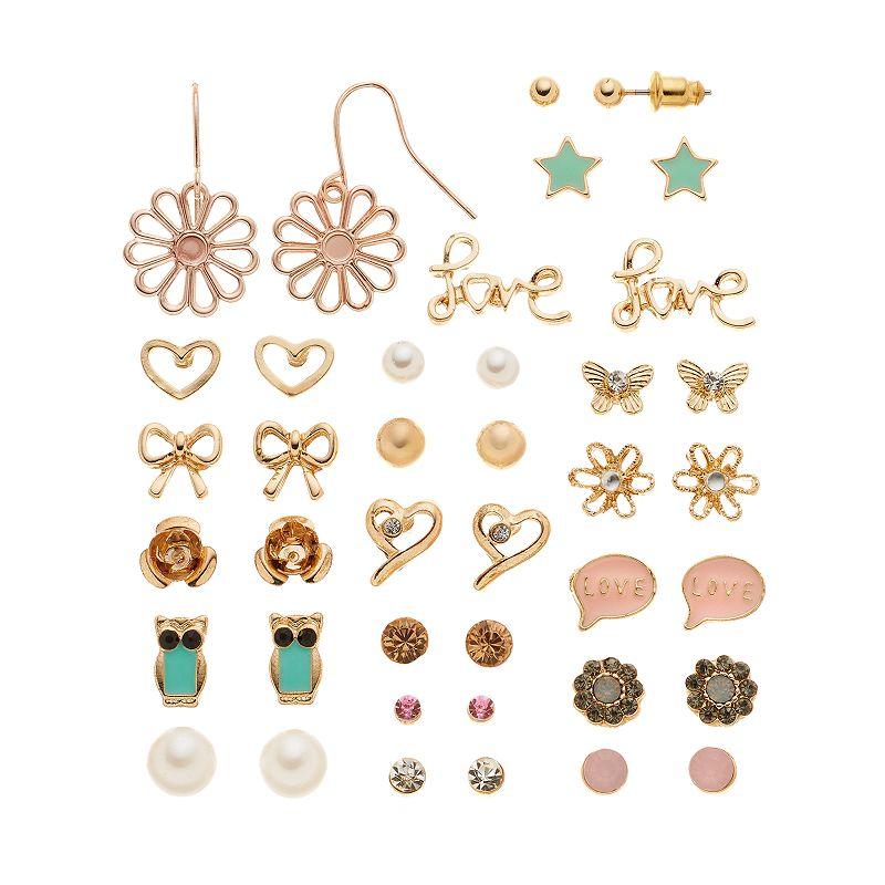 Mudd® Flower, Star, Heart, Butterfly, Owl, Bow & ''Love'' Earring Set