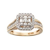 Cherish Always 10k Gold 1/3 Carat T.W. Certified Diamond Halo Engagement Ring