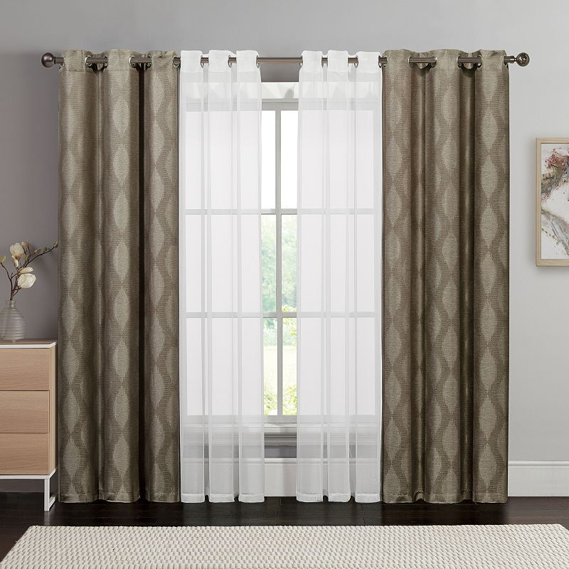 Victoria Classics 4-pack Jasper Double-layer Curtain Set, Chocolate