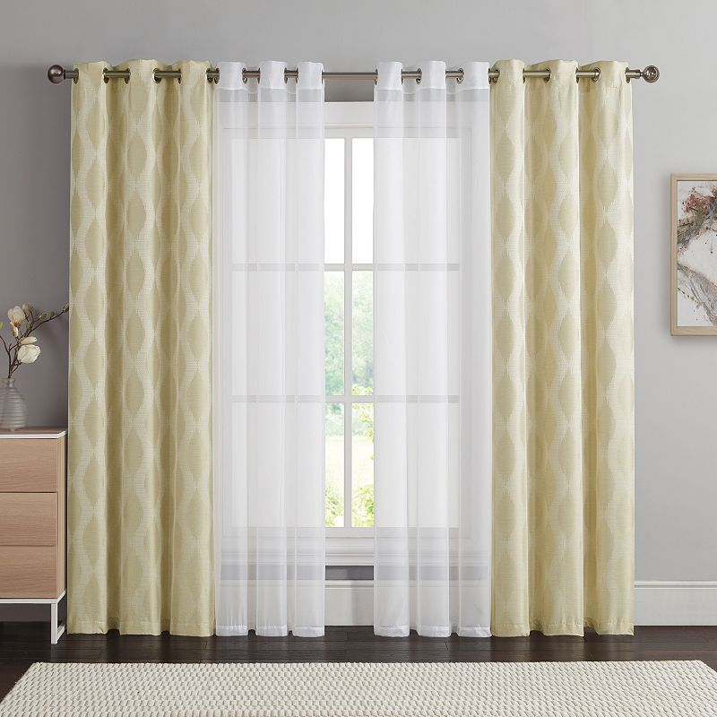 Victoria Classics 4-pack Jasper Double-layer Curtain Set, White