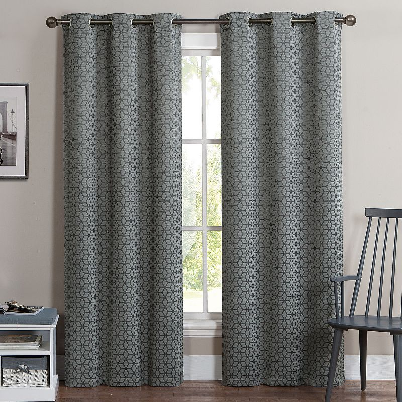 victoria classics 2 pack geometric blackout curtains