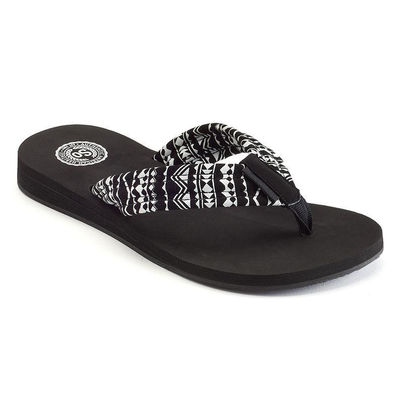 SO® Women's Tribal Thong Wedge Flip-Flops