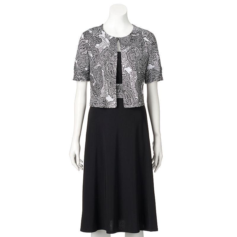 Women's Perceptions Paisley Dress & Jacket Set