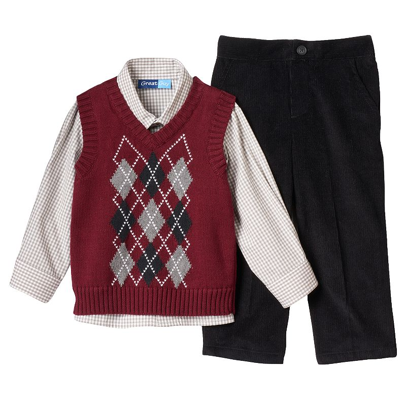 Toddler Boy Great Guy Sweater Vest, Shirt & Pants Set