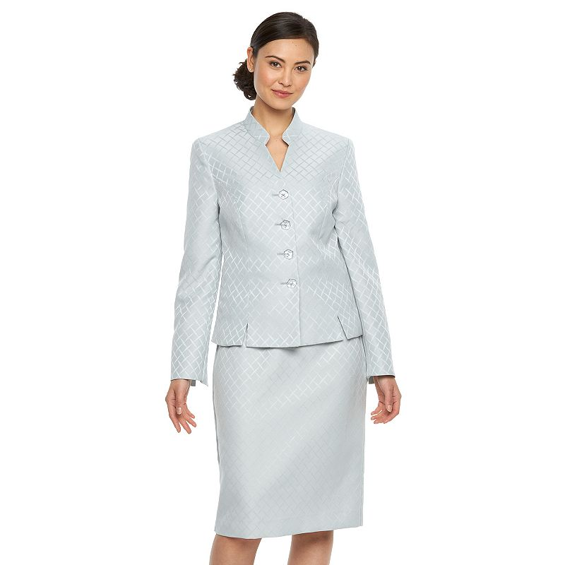 Women's Le Suit Geometric Jacquard Jacket & Skirt Set