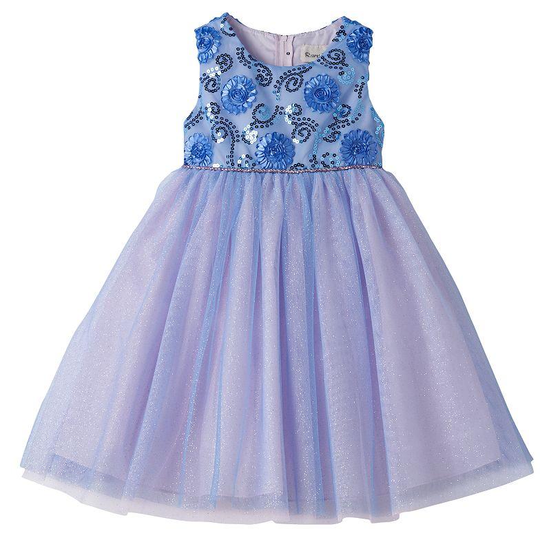 Girls 4-6x Rare Editions Sequin Rosette Empire Dress