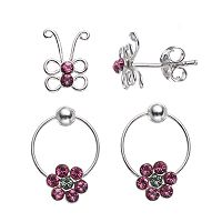 Charming Girl Kids' Sterling Silver Crystal Butterfly Stud & Flower Hoop Earring Set - Made with Swarovski Crystals