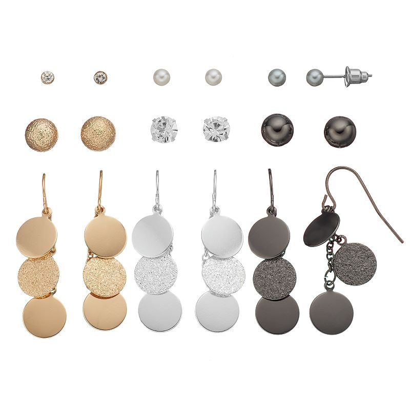 Mudd® Stud & Disc Drop Earring Set