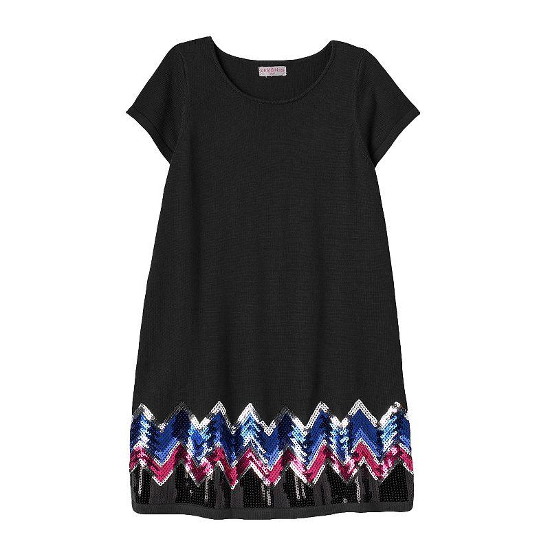 Design 365 Girls 4-6x Sequin Chevron Sweater Dress