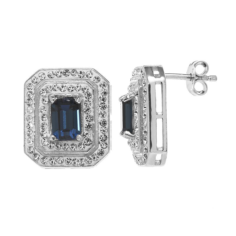 Sterling 'N' Ice Crystal Sterling Silver Tiered Stud Earrings - Made with Swarovski Crystals