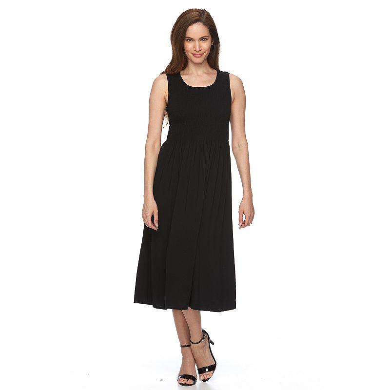 Petite Croft & Barrow® Smocked Midi Dress