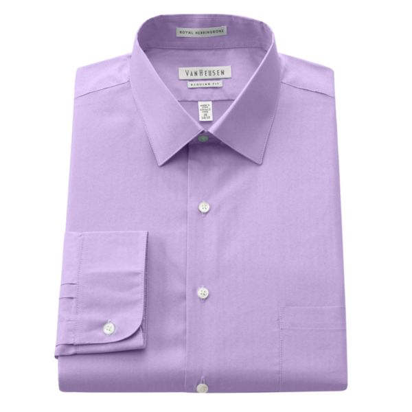 Men's Van Heusen Regular-Fit Royal Herringbone Easy-Care Spread-Collar Dress Shirt