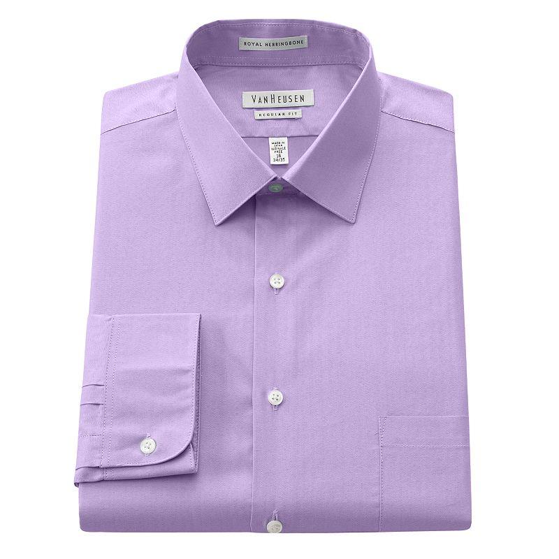 Men's Van Heusen Regular-Fit Royal Herringbone Easy-Care Spread-Collar Dress Shirt