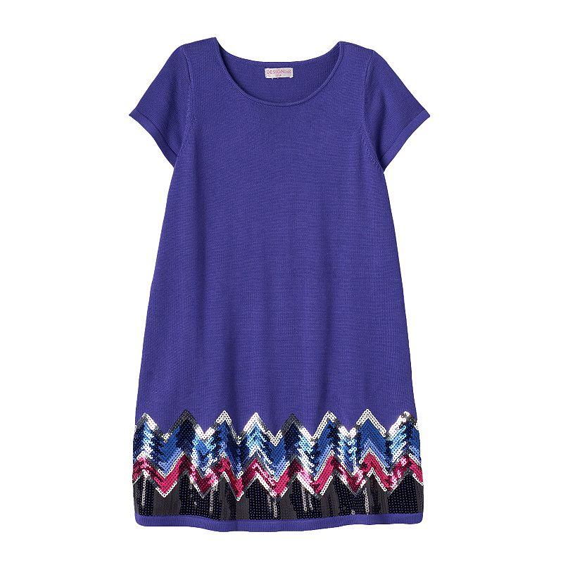 Design 365 Toddler Girl Sequin Chevron Sweater Dress
