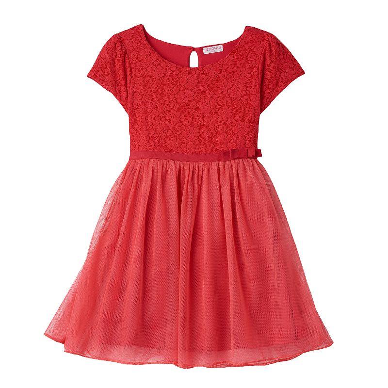 Design 365 Toddler Girl Floral Lace Tulle Dress