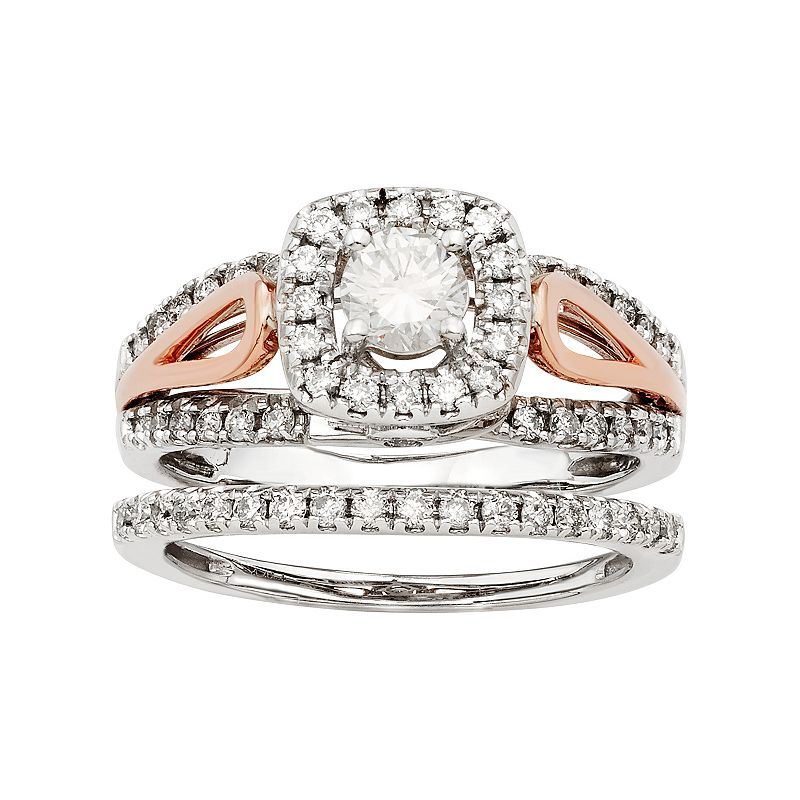 Two Tone 14k Gold IGL Certified 1 Carat T.W. Diamond Halo Engagement Ring Set